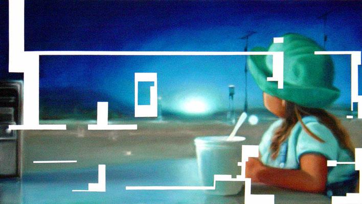 <b>Leise 1</b><br />2004<br />Acryl auf Baumwolle<br />180 x 100 cm