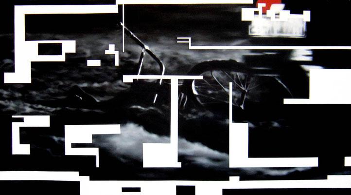 <b>Dunkel 3</b><br />2005<br />Acryl auf Baumwolle<br />187 x 100 cm