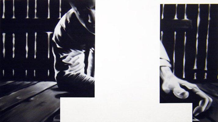 <b>Ausserordentlich allein VI</b><br />2005<br />Acryl auf Baumwolle<br />180 x 100 cm
