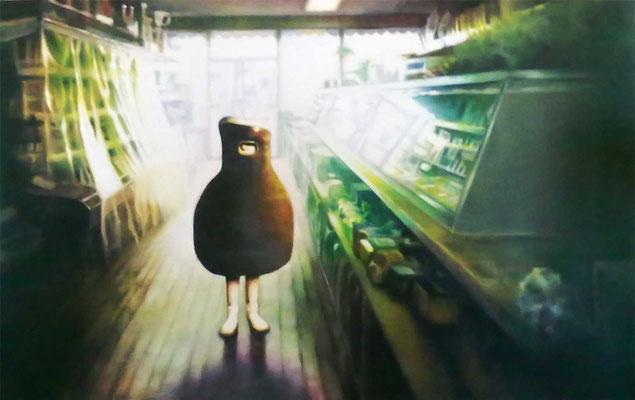 <b>Audrey II</b><br />2010<br />Acryl auf Baumwolle<br />160 x 100 cm