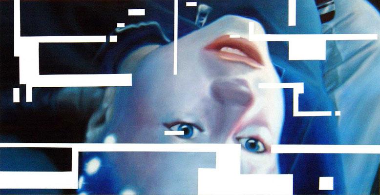 <b>Opferkamera 1</b><br />2004<br />Acryl auf Baumwolle<br />250 x 125 cm