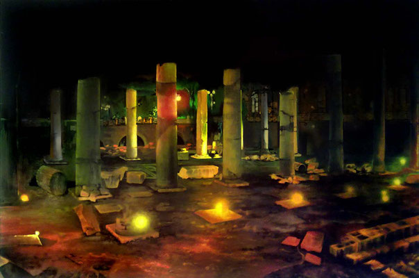<b>Schatten wie Tage</b><br />2011<br />Acryl auf Baumwolle<br />150 x 100 cm