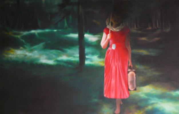 <b>Am Ende des Korridors</b><br />2009<br />Acryl auf Baumwolle<br />100 x 65 cm