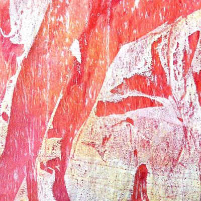 Farbdrucke auf Seidenpapier, rot-weiß