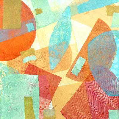 Bedruckt mit dem Gelli-Print-Verfahren und ergänzt mit Collagepapieren