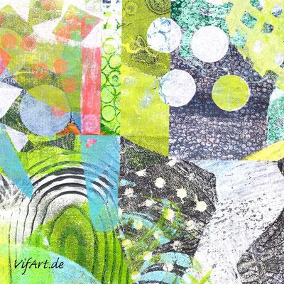 Collage aus selbstgedruckten Papieren am Pc - VifArt