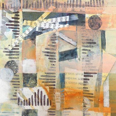 Collage, Druckelemente und Schrift, mit Arcylfarben weiter bearbeitet