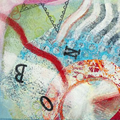 Druck, Acrylmalerei und Collage