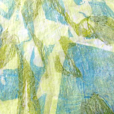 Farbdrucke auf Seidenpapier, grün-blau