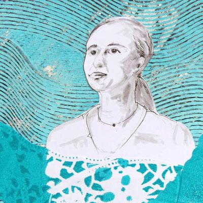 Collage aus bedruckten Papieren und Gesichtszeichnung mit Stiften