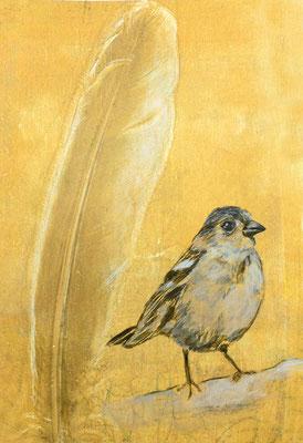 Feder gedruckt mit dem GelliPrinverfahren, Vogel in Acryl gemalt