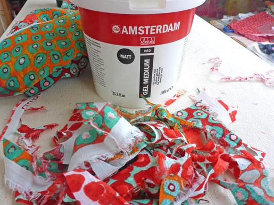 Gel Medium Matt von Amsterdamm als Collagekleber auf Acryluntergrund