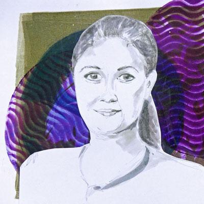 Gesicht, mit wasserfesten Stiften gezeichnet auf dunklem Hintergrund