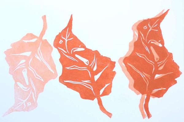 Mehrfachdruck eines Blattes, nebeneinander und übereinander.