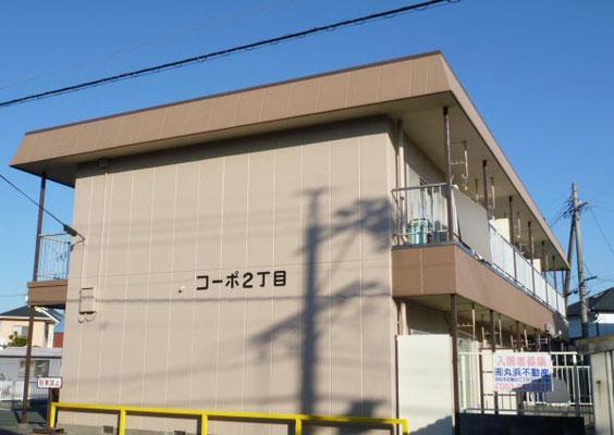 南向きの2階建てアパート