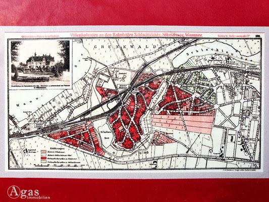 Immobilienmakler Nikolassee - Historischer Plan der Villenkolonie a.d. Bahnhöfen Schlachtensee, Nikolassee, Wannsee