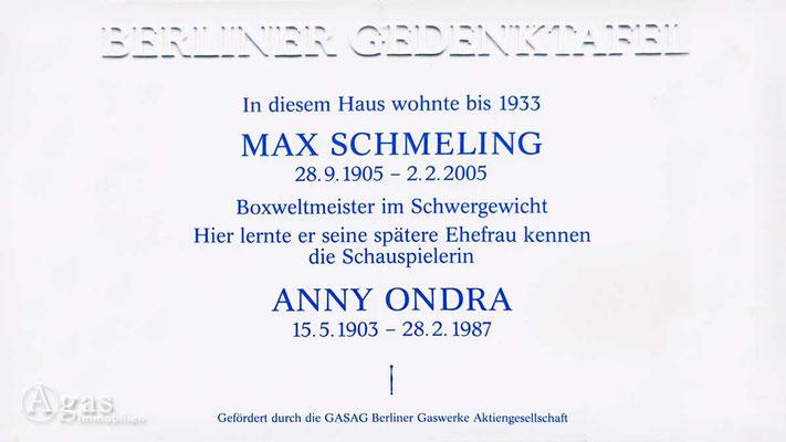 Makler Berlin Neu-Westend - Gedenktafel für Max Schmeling und Anny Ondra