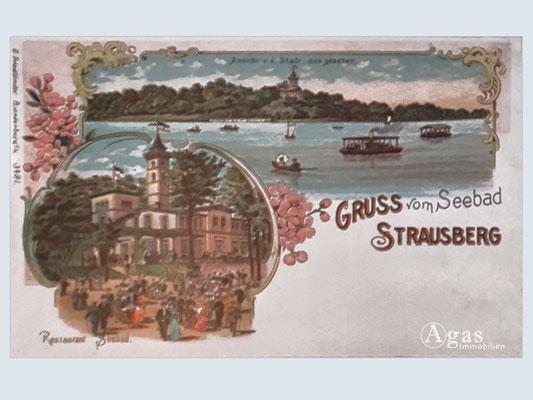 Immobilienmakler Strausberg - Historische Postkarte / Gruss vom Seebad Strausberg