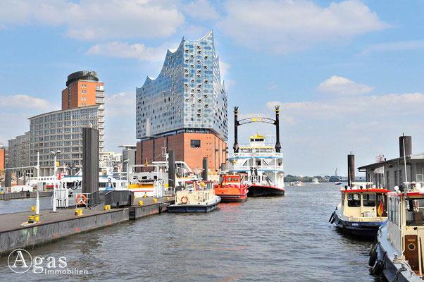 Hamburg - Norderelbe mit Blick auf die Elbphilharmonie