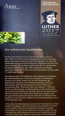 Altlandsberg - Hinweis zur lutherischen Stadtkirche