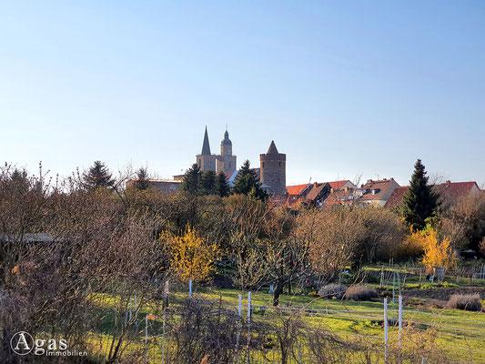 Immobilienmakler Jüterbog - Blick über die Gärten auf St. Nikolai & Eierturm