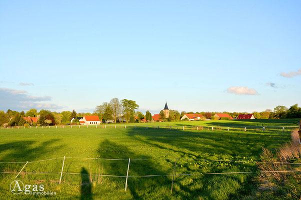 Schönfließ - Blick auf das Dorf über die Felder