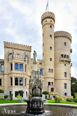 Potsdam - Park Babelsberg - Das neogotische Schloss mit dem Städtebrunnen von Norden