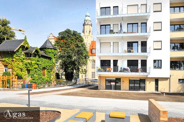 Wohnquartier UFERKRONE Köpenick mit Blick zur Kita Findefuchs