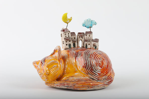 My World is on a cat. handmade sculpture in ceramic and glazes, 2020