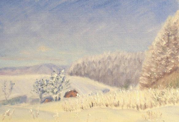 SM 2015.12.23制作 自宅近くの雪景色(霧氷の着いた木々)