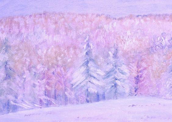 SM 2015.10.25制作 御牧にて(初雪をかぶった森の木々)