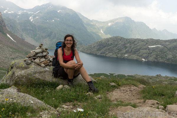 Steinmännchen und Britta am Langsee :o)