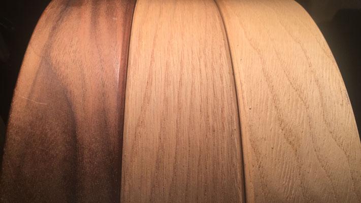 Verschiedene, heimische Holzsorten für den individuellenRahmen der Trommel