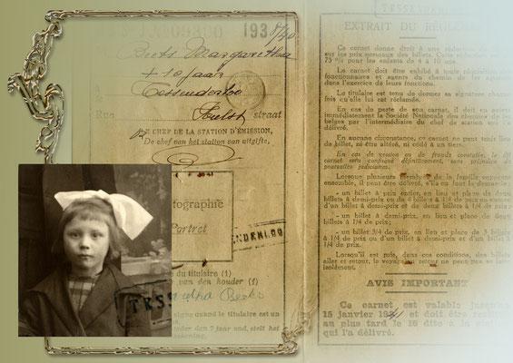 Reispasje van Margriet Beets- op foto ongeveer 9 jaar oud
