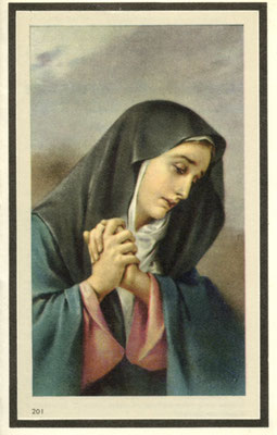 Rouwprentje met de Lijdende en biddende Lieve Vrouw. kleur.
