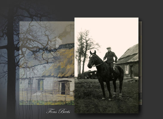 Fons Beets-op achtergrond boerderij Beets-Noels-voor 1940