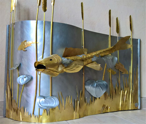 Bild -Wandrelief-Fische - Deko, Dekoidee Haus, Metall, Zink, Zinkkunst, Kunst aus Zink, Kupfer, Kupferkunst, Kunst aus Kupfer, Messing, Kunst aus Messing Kunst aus Blech, Blechkunst