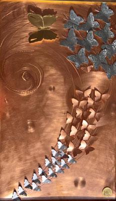 """Bild """"Der Schwarm"""" - Deko, Dekoidee Haus, Metall, Zink, Zinkkunst, Kunst aus Zink, Kupfer, Kupferkunst, Kunst aus Kupfer, Messing, Kunst aus Messing Kunst aus Blech, Blechkunst"""