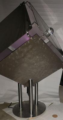 Lichtwürfel mit Weltkugel- Deko, Dekoidee Haus, Metall, Zink, Zinkkunst, Kunst aus Zink, Kupfer, Kupferkunst, Kunst aus Kupfer, Messing, Kunst aus Messing Kunst aus Blech, Blechkunst