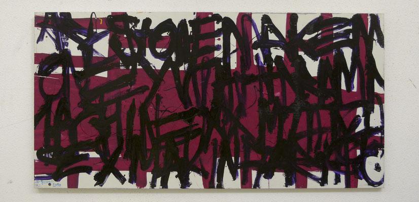 """"""" Pink Latin """", 150x50, acrylique automobile sur plaque d'aluminium, 2011."""
