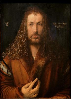"""""""Autoportrait (dit en Christ)""""; 66,3 × 49 cm;  Huile sur bois; 1500; Albrecht Dürer. – à Alte Pinakothek."""