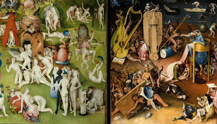 """""""Détail : Le Jardin des délices""""; triptyque 220 × 386 cm; Huile sur bois de chêne; 1494 - 1505; Jérôme Bosch. – à Museo Nacional del Prado."""