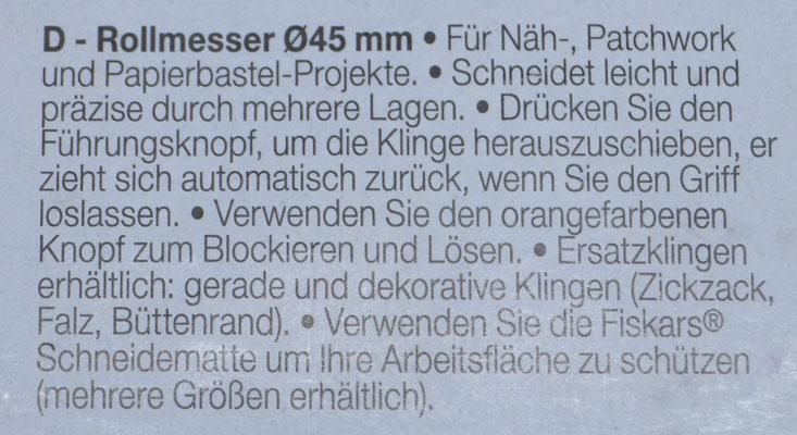 Anleitung Fiskars Rollschneider