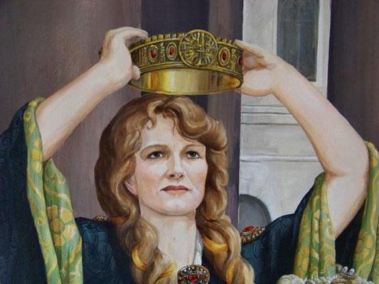 Die Malerin Andrea Berthel als Lady McBeth