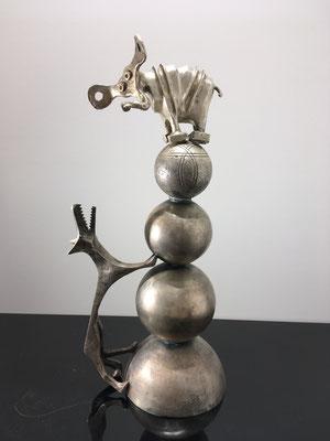 Le Loup et l'Éléphant - Bronze argenté