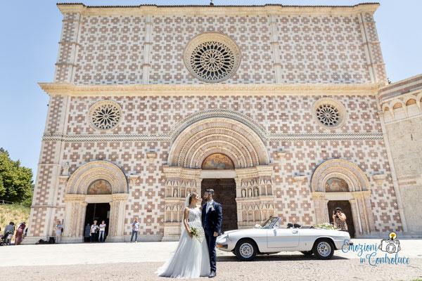 Danilo ed Erica: dopo il matrimonio, l'uscita degli sposi da Santa Maria di Collemaggio, L'Aquila