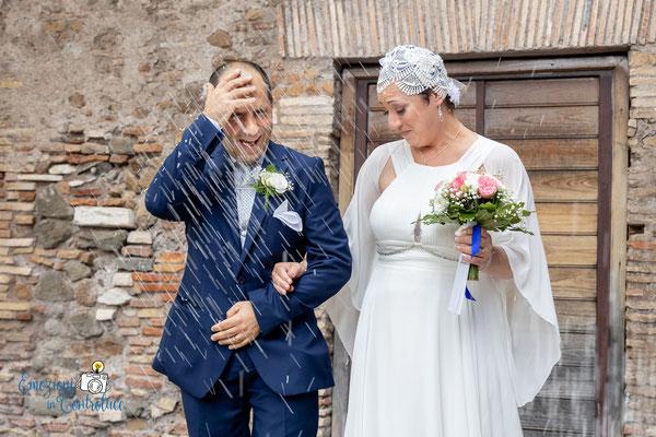 L'uscita degli sposi con il lancio del riso a Caracalla, Roma
