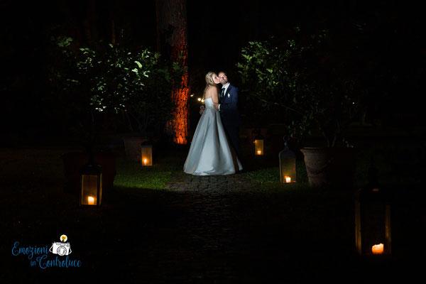 Matrimonio in notturna, fotografie degli sposi