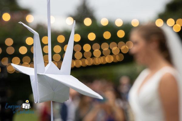 dettagli: gli origami realizzati direttamente dagli sposi