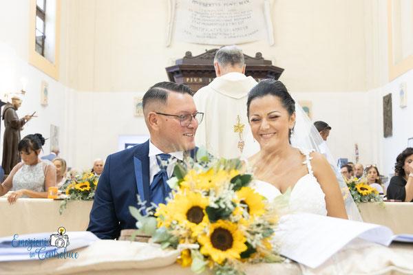 Gli sposi durante le cerimonia